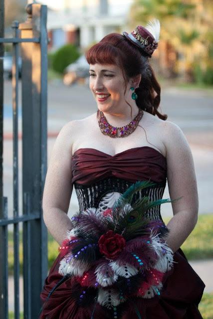 steampunk wedding, steampunk bride and groom, louise black corset, tremont house hotel, galveston, wedding, feather bouquet, diy wedding, kempner park