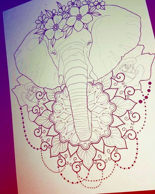Mandala Flower Elephant Tattoo Designs