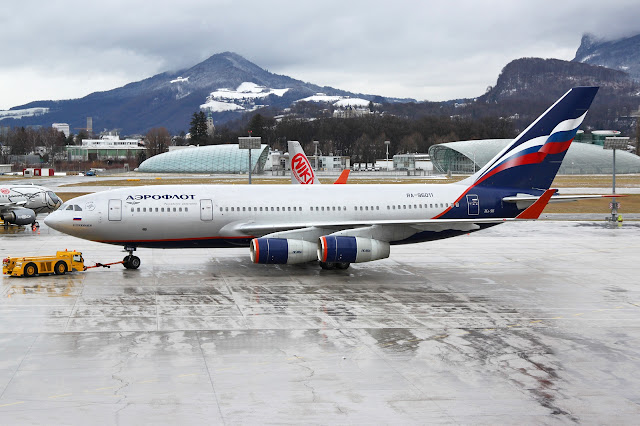 Aeroflot Ilyushin Il-96 Taxiing on Icy Surface