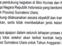 Penerimaan SDM Tenaga Pendukung Di Lingkungan Biro Humas dan Keprotokolan Sekretariat Daerah Provinsi Sumatera Utara Tahun Anggaran 2018