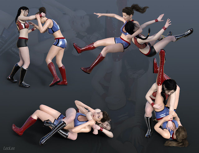 Women Wrestlers Poses for Genesis 8 and 3 Female