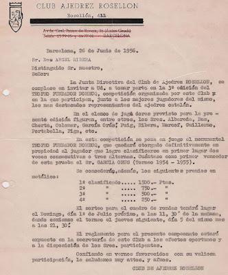 Invitación del Club Ajedrez Rosellón a Ángel Ribera a participar en el Trofeo Fundador Domecq 1956