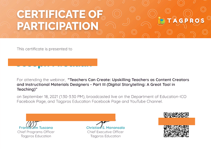 Day 3 Session | Certificate of Participation | Tagpros September 18 Webinar