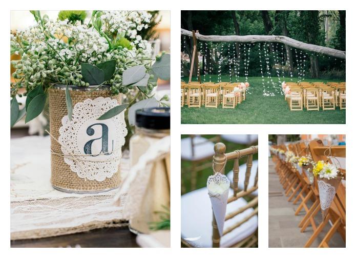 blondas de papel decorando bodas o eventos