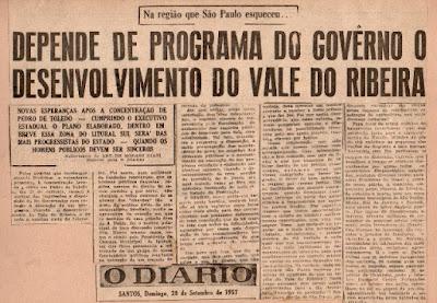 """Ary Giani cobra do Governo o desenvolvimento do Vale do Ribeira. (""""O Diário"""", de Santos"""", de 29-9-1957)"""