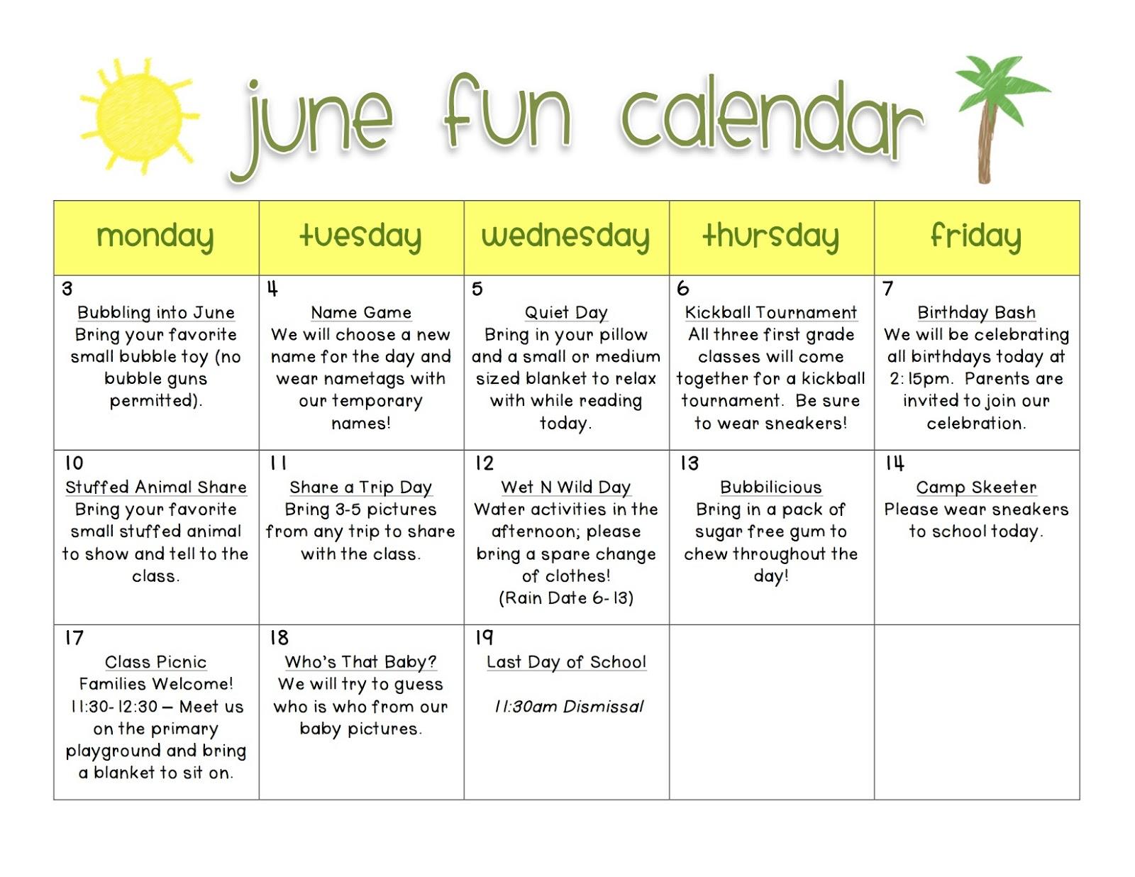 June Fun Calendar