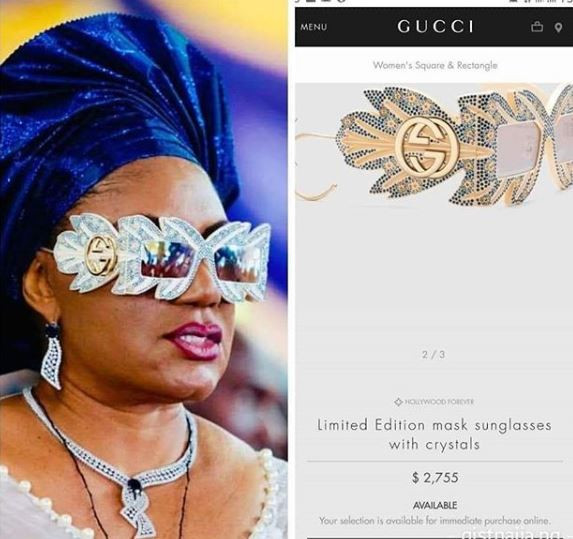 The Stylish Sunglasses Of Anambra First Lady, Ebele Obiano That Nearly Destroyed Internet Yesterday Is N1m Limited Edition Gucci Designer