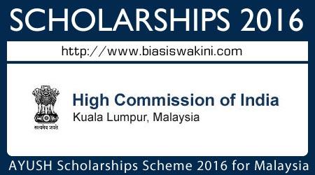 AYUSH Scholarship Scheme 2016 for Malaysia