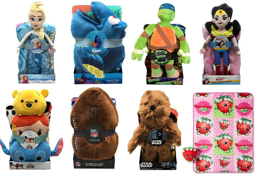 Best Kids u Throw Blanket u Hugger Plush Pillow Set Frozen Dory Teenage Mutant Ninja Turtles Shopkins Chewbacca Wonder Woman and More