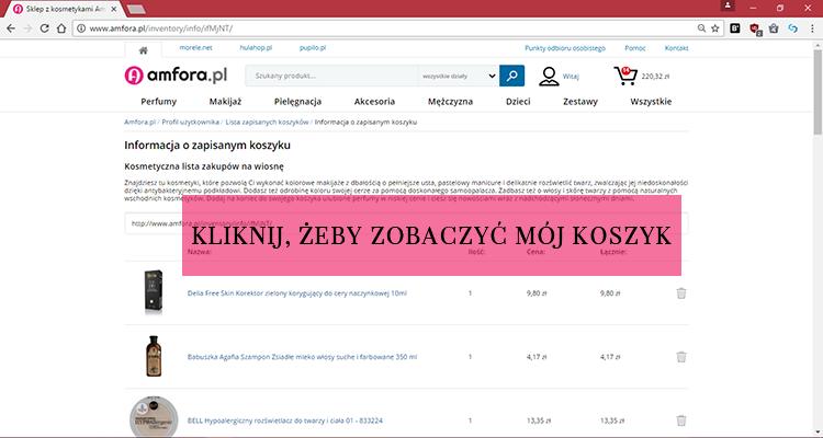 amfora, amforapl, amfora.pl, tanie kosmetyki, drogeria online, kosmetyki online azjatyckie, lista zakupów kosmetyczna, zapisz koszyk,