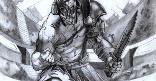 Desenho de um gladiador empunhando uma espada, com arte de Alex Nazato