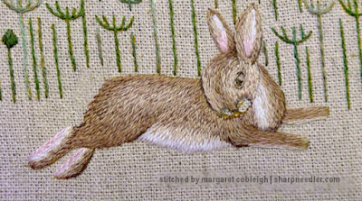 Body of embroidered hare nearly complete from Jenny McWhinney's Queen Anne's Lace