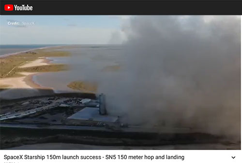 Hooray, Starship SN5 goes up and lands successfully (Source: SpaceX)