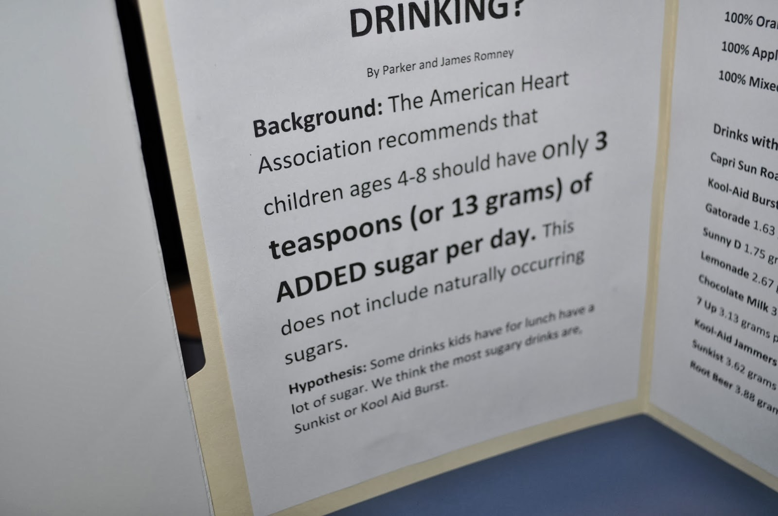 Science Fair Fun How Much Sugar Is In What You Are