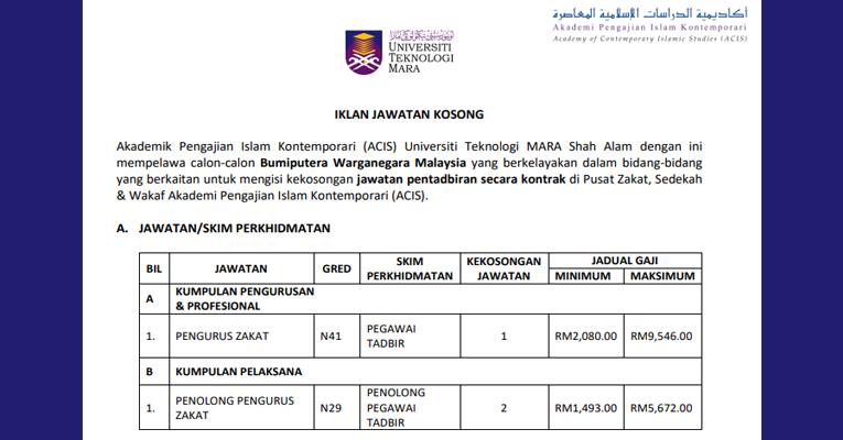 Jawatan Kosong di Universiti Teknologi MARA / Gaji RM1,493.00 - RM9,546.00