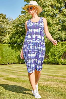 Blue tie-dye Print Pocket Cocoon Sun dress