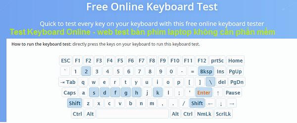 Test Keyboard Online - WEB test bàn phím laptop không cần phần mềm a