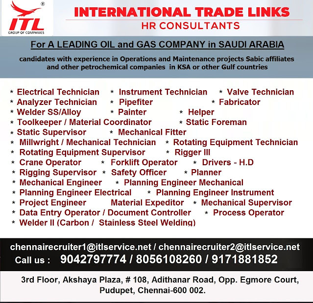 Saudi Arabia Jobs, Oil & Gas Jobs, ITL HR Consultants, Mechanical Engineer, Rigging Supervisor, Planning Engineer, Instrument Technician