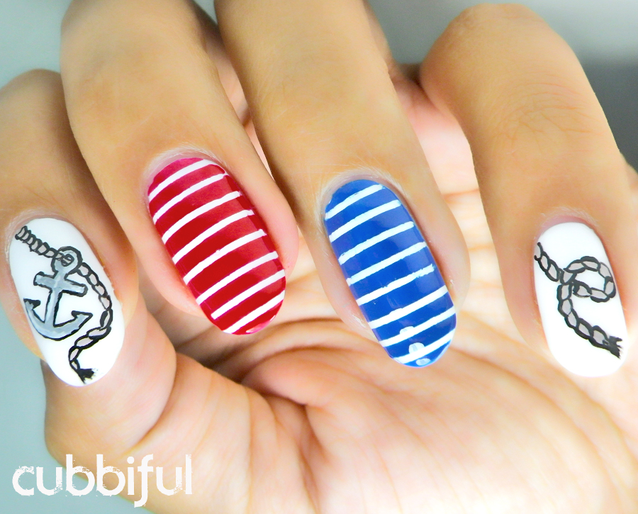 sailor nails with stripes an anchor and some rope