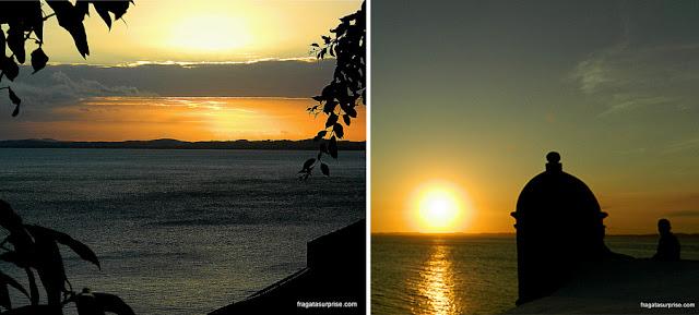Salvador: pôr do sol visto do Terraço da Aliança Francesa e do Farol da Barra