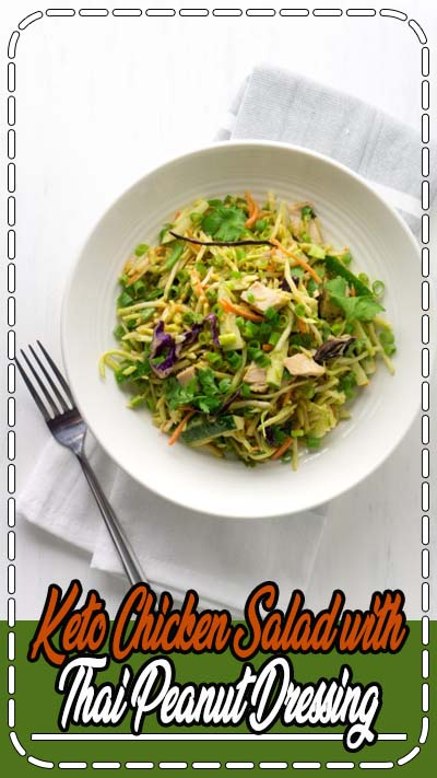 Low carb thai peanut chicken slaw is a delicious, easy keto lunch recipe. Perfect for healthy meal prep ideas and quick keto lunch recipes. #keto #ketorecipes #lowcarb #lowcarbrecipes #healthyrecipes