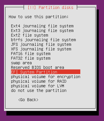 Ubuntu minimal cd efi system partition