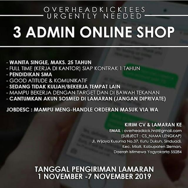 Lowongan Kerja Admin Online Shop Jogja