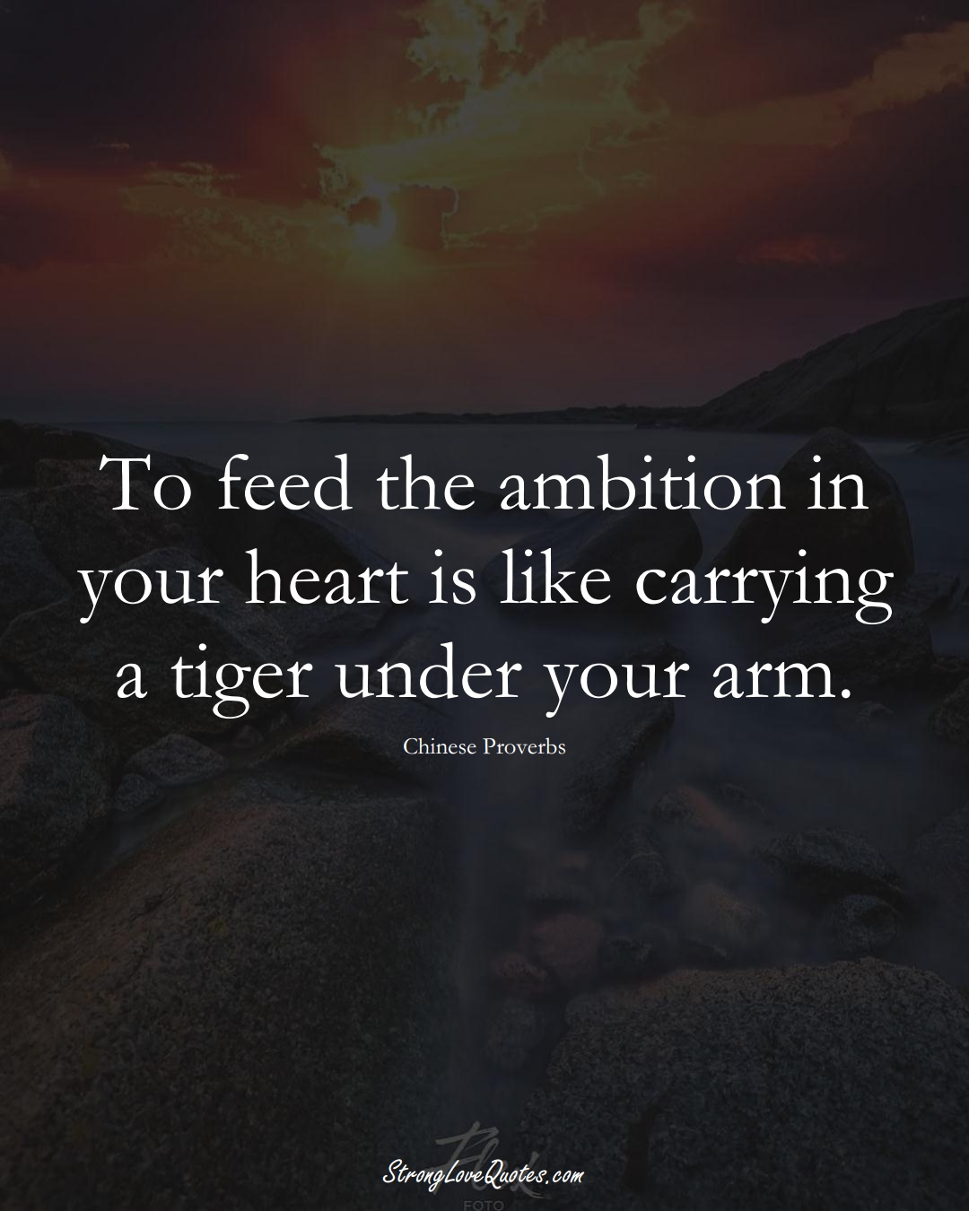 To feed the ambition in your heart is like carrying a tiger under your arm. (Chinese Sayings);  #AsianSayings