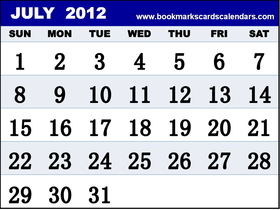 Free Calendars 2015, Bookmarks, Cards: Calendar July 2012 to print - 2