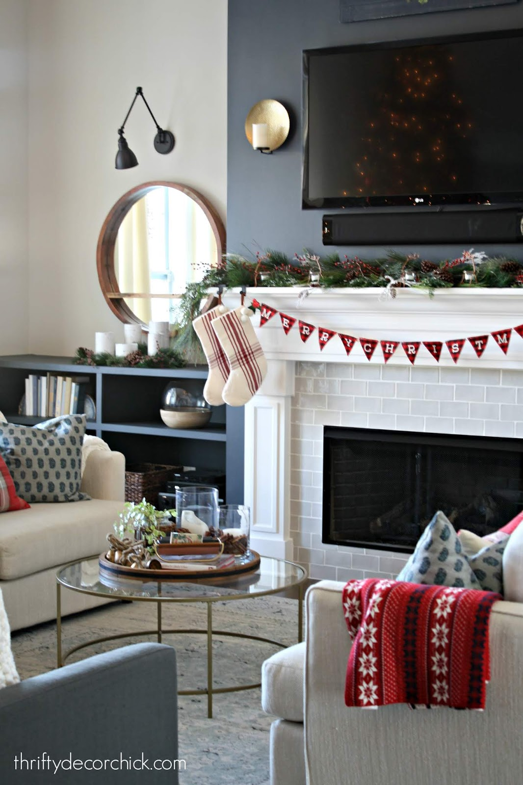 Christmas family room with red accents