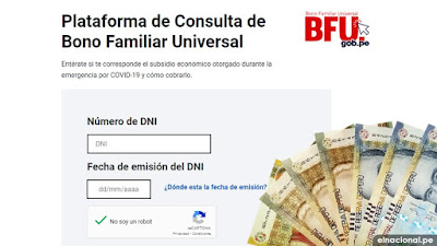 WWW.BFU.GOB.PE: CONSULTA AQUÍ con tu DNI para saber si eres beneficiario del Bono Familiar Universal de S/ 760 y cuándo cobrar
