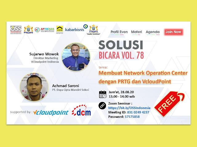 "Dokumentasi Webinar ""Membuat Network Operation Center dengan PRTG dan VcloudPoint"" 28 Ags 2020 - APTIKNAS JAWA TIMUR"