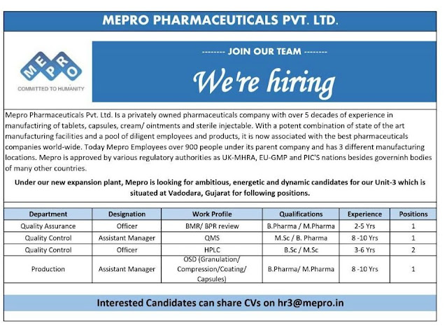 Mepro Pharmaceuticals Pvt Ltd Urgent Openings for QA QC Production Departments Apply Now
