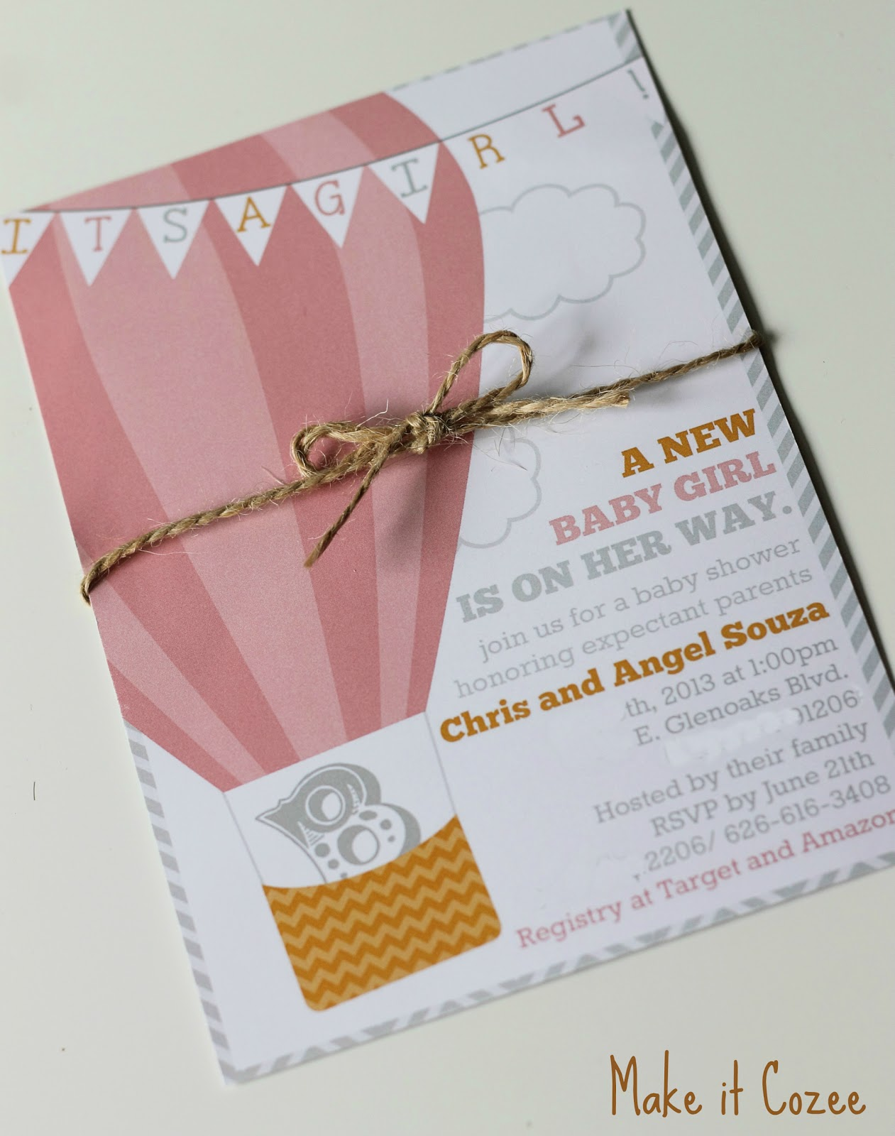 Make it Cozee Hot Air Balloon Baby Shower Invitations