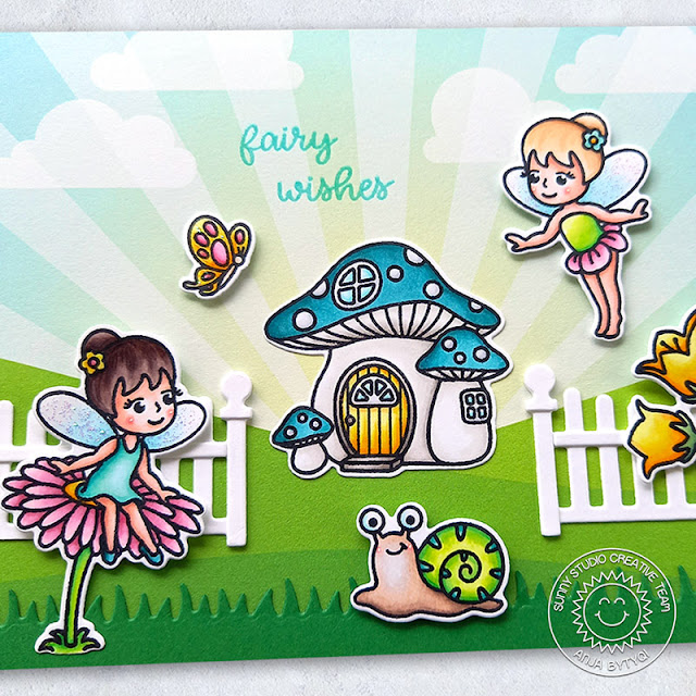 Sunny Studio Stamps: Scalloped Fence Dies Garden Fairy Card by Anja Bytyqi