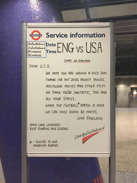 Message to the Americans from the London Underground today