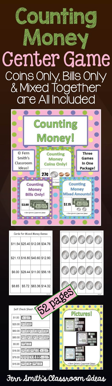 Fern Smith's Classroom Ideas Counting Money Center Game at TeachersPayTeachers