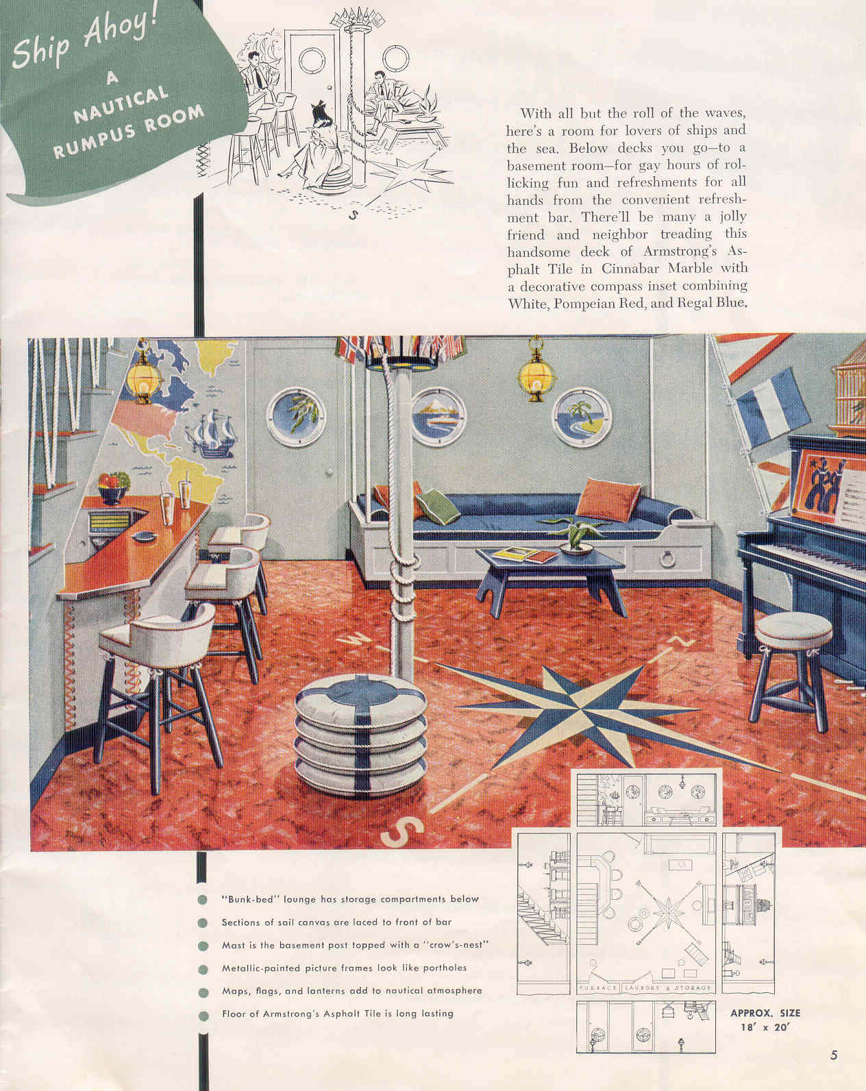 Rumpus Room Designs: Gold Country Girls: Basement Rooms, Circa 1950