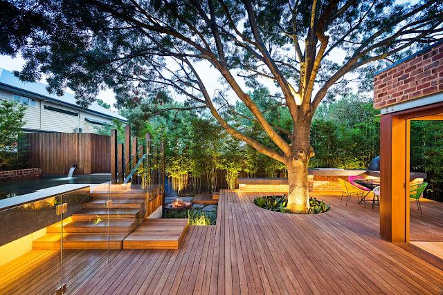 backyard landscaping designs keeping the tree