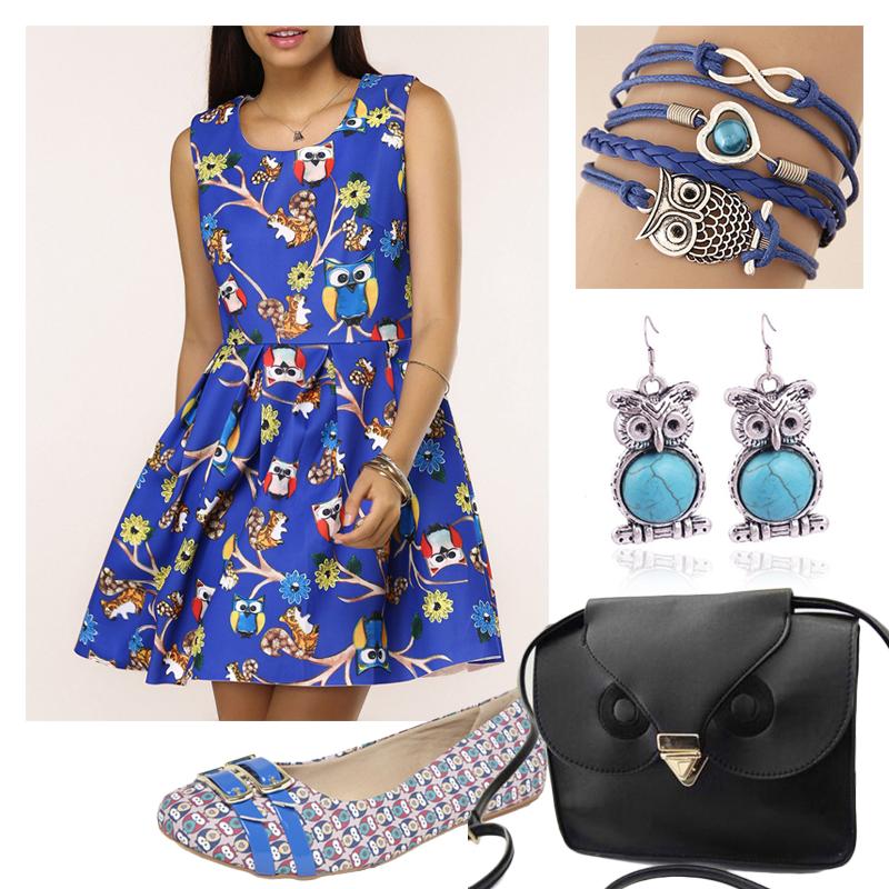 Look azul corujinhas