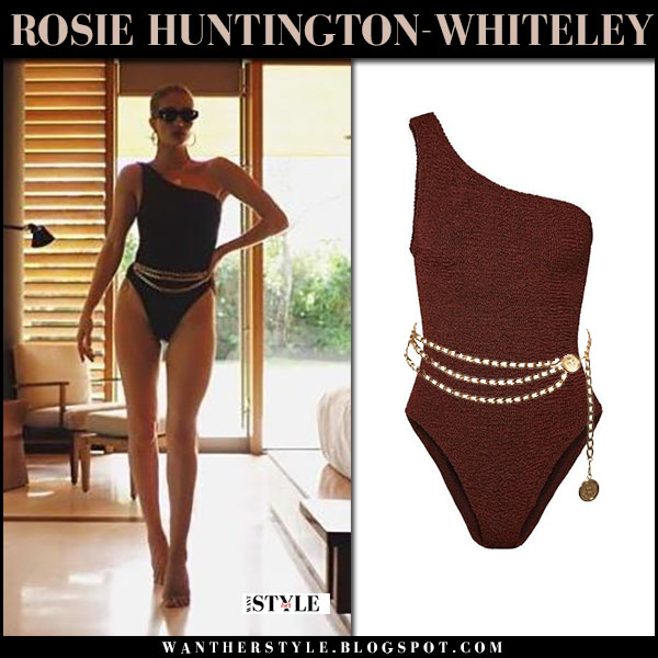 Rosie Huntington-Whiteley in one shoulder swimsuit hunza g beach model style january 2018