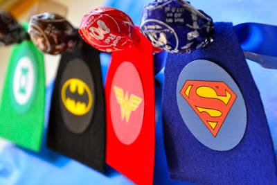 DIY Lollipops Dressed as Superheroes.