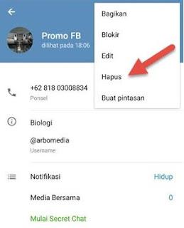 menghapus kontak telegram