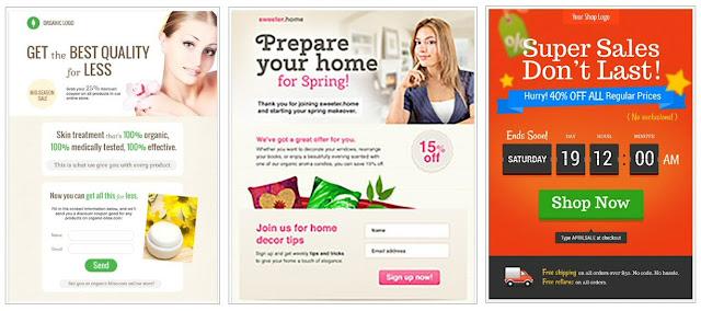 Landing page templates of GetResponse