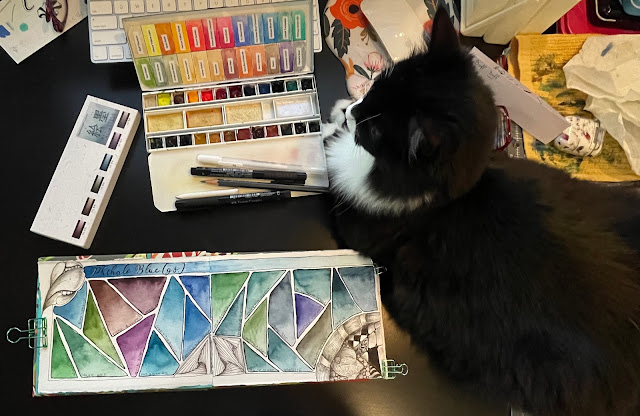 Watercolor Swatch Book and Dusty the Cat