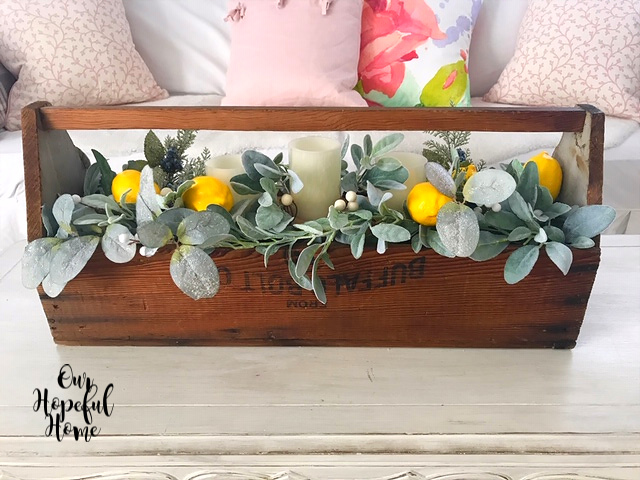 vintage wooden tool box faux eucalyptus leaves garland juniper lemons