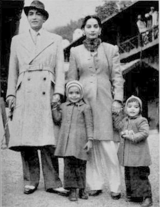 Kishore Sahu with his wife Preeti Sahu and kids Rohit and Naina at Naini Tal in 1949