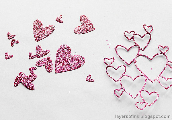Layers of ink - Pink Penguin Tag Tutorial by Anna-Karin Evaldsson. Glittery hearts.