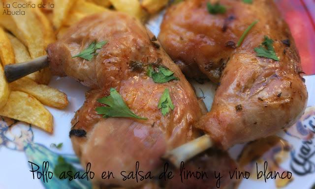 Pollo asado salsa limón vino blanco receta final
