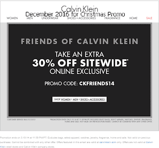 free Calvin Klein coupons for december 2016